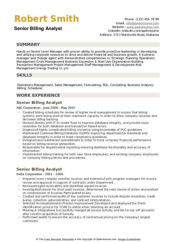 Senior Billing Analyst Resume example