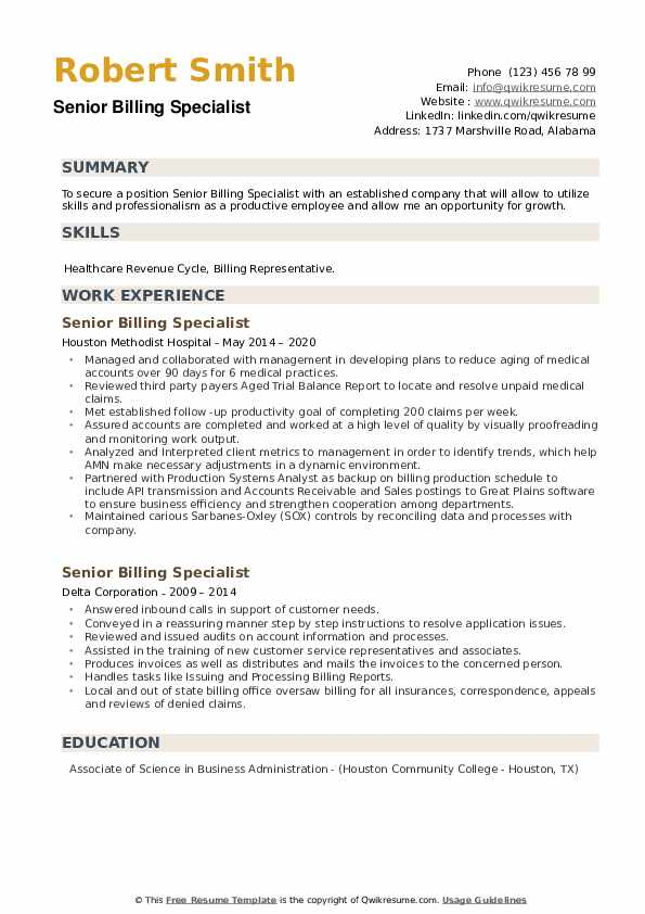 Senior Billing Specialist Resume example