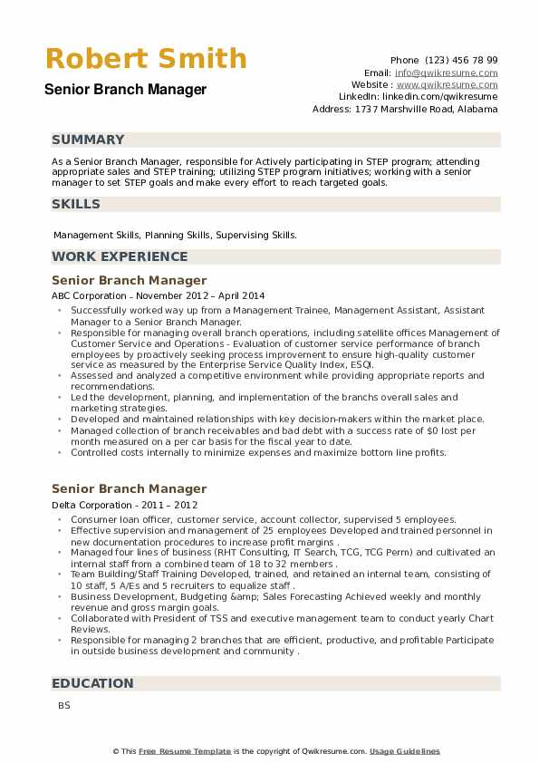 Senior Branch Manager Resume example
