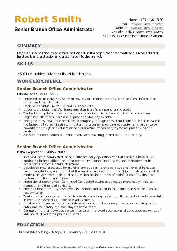 Senior Branch Office Administrator Resume example