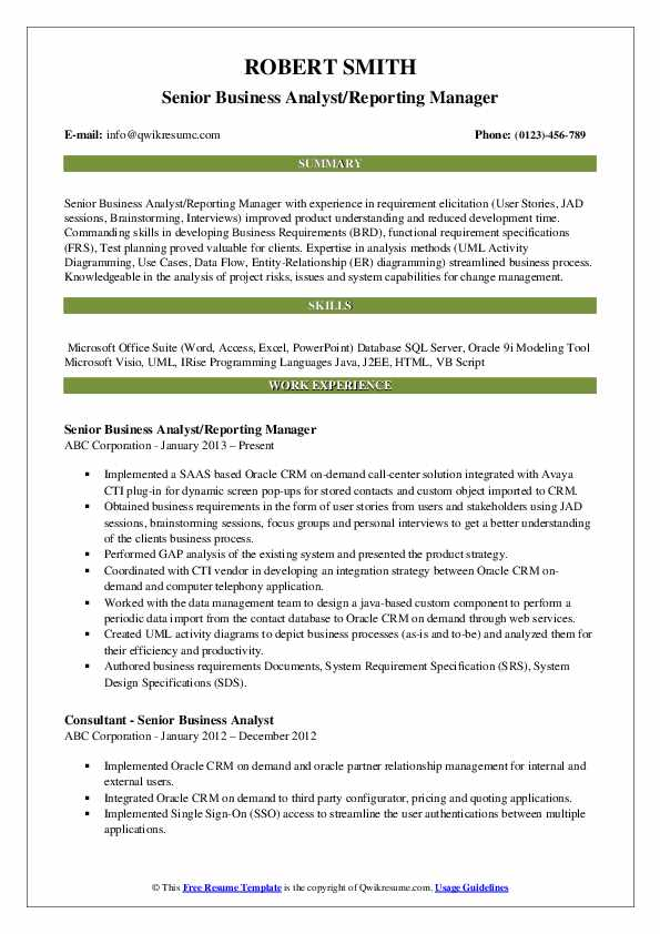 Senior Business Analyst/Reporting Manager Resume Sample