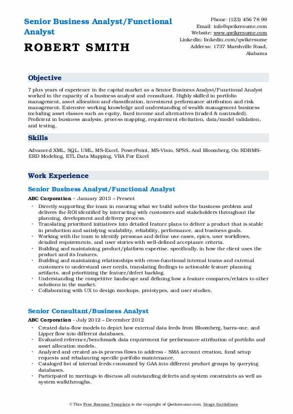 Senior Business Analyst/Functional Analyst  Resume Template