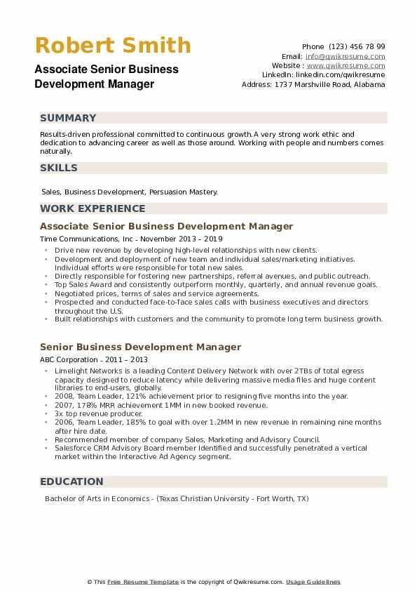 senior business development manager resume samples
