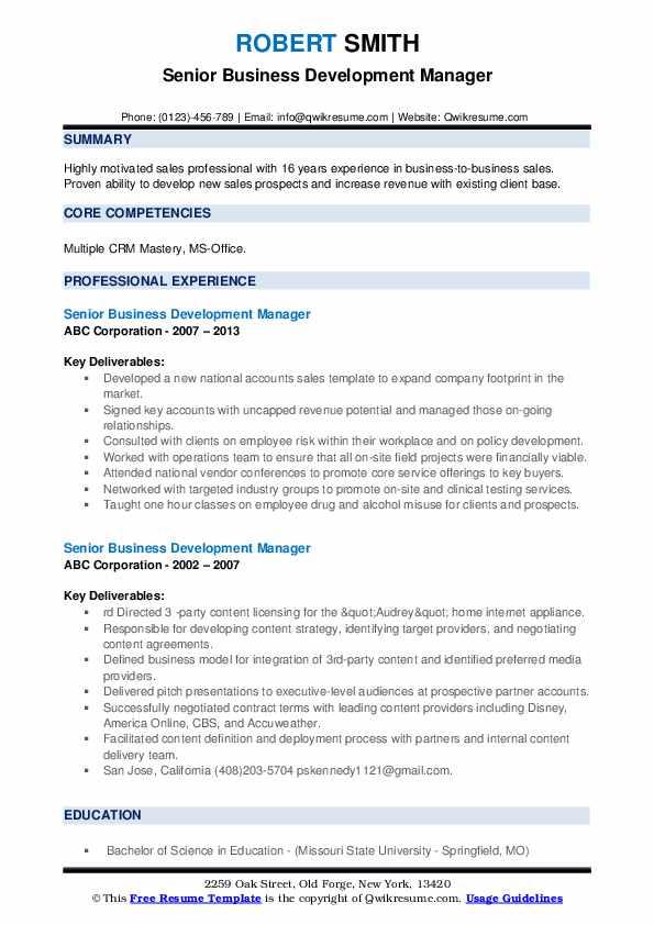 Senior Business Development Manager Resume example