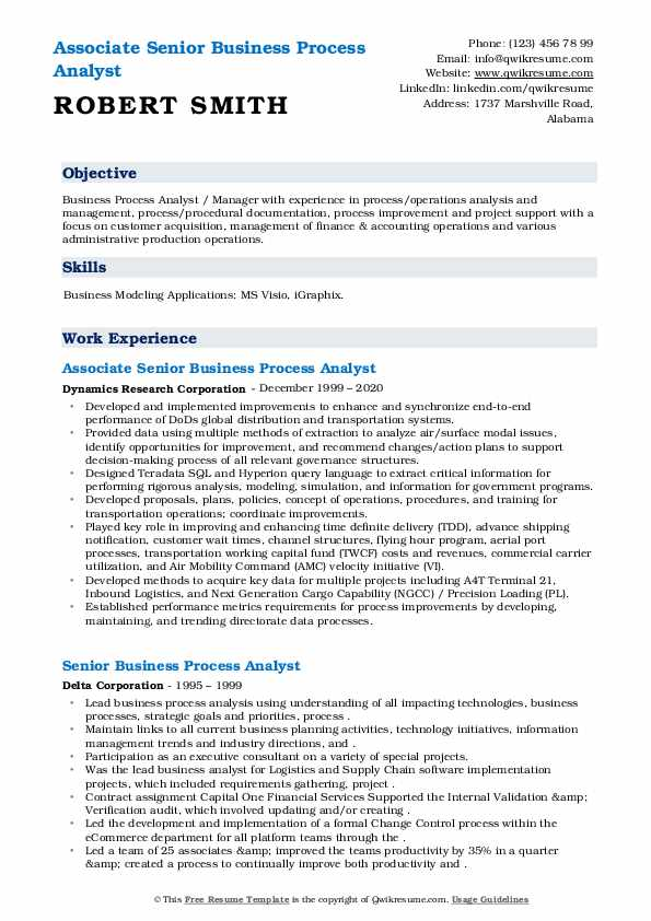 senior business process analyst resume samples
