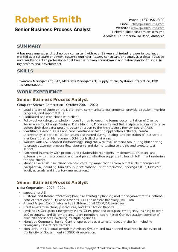 Senior Business Process Analyst Resume example