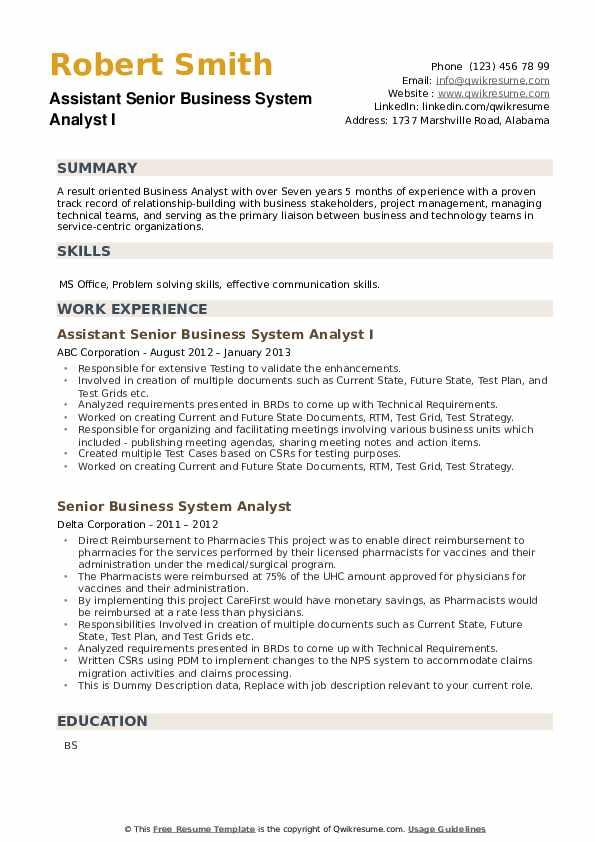Senior Business System Analyst Resume example