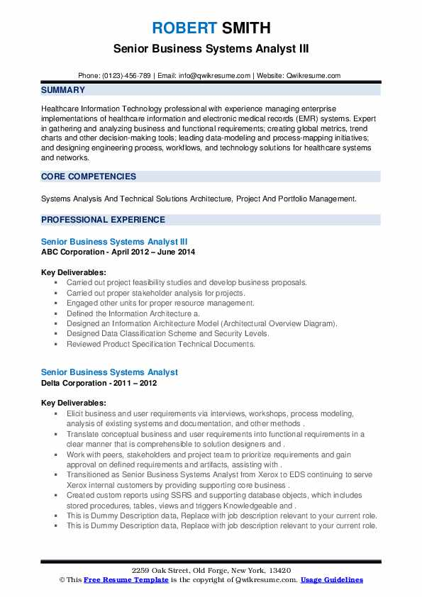 Senior Business Systems Analyst Resume Samples Qwikresume
