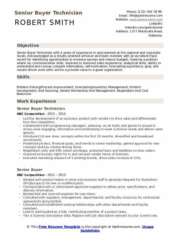 Senior Buyer Technician Resume Format