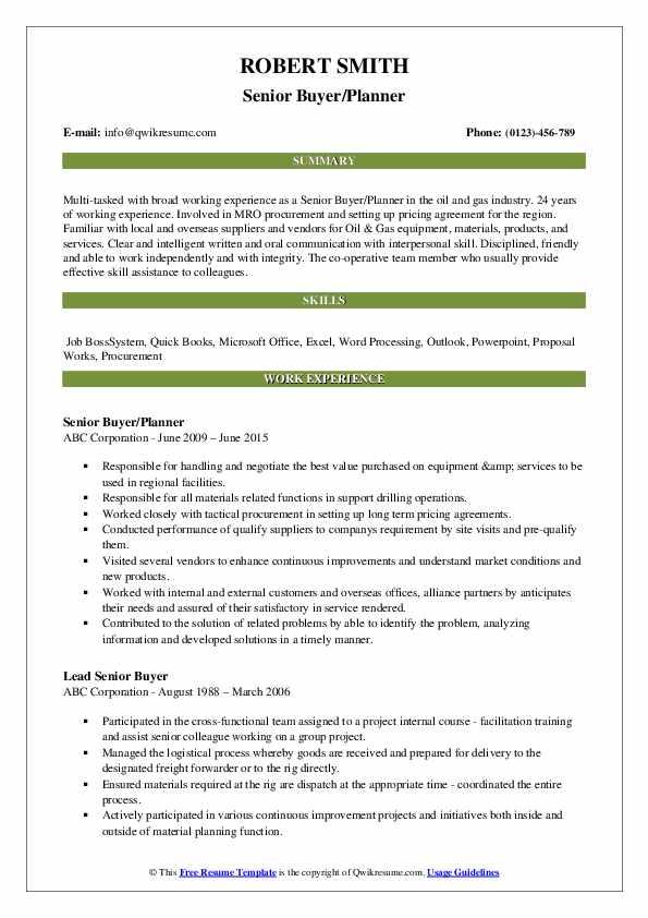 Senior Buyer/Planner Resume Sample