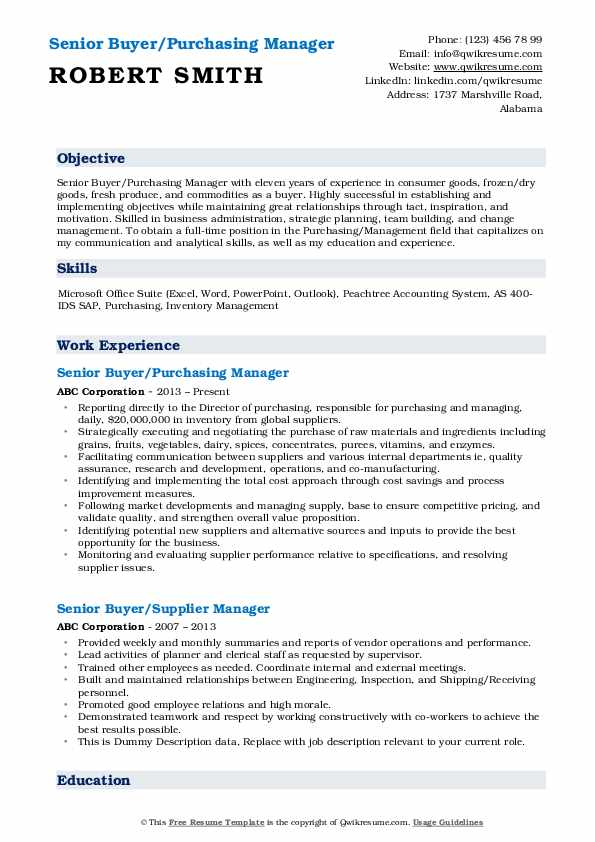 Senior Buyer/Purchasing Manager Resume Model