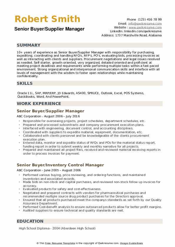 Senior Buyer Resume example