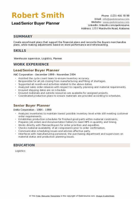 Senior Buyer Planner Resume example