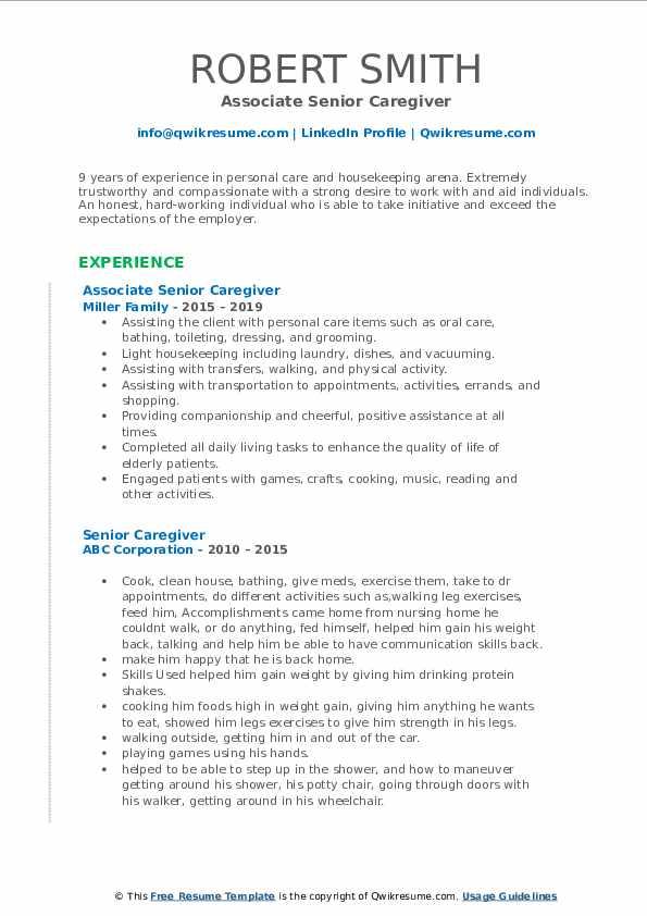 Senior Caregiver Resume example
