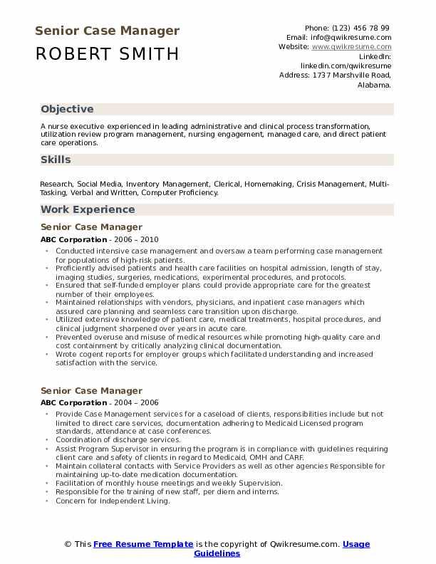 Senior Case Manager Resume Format
