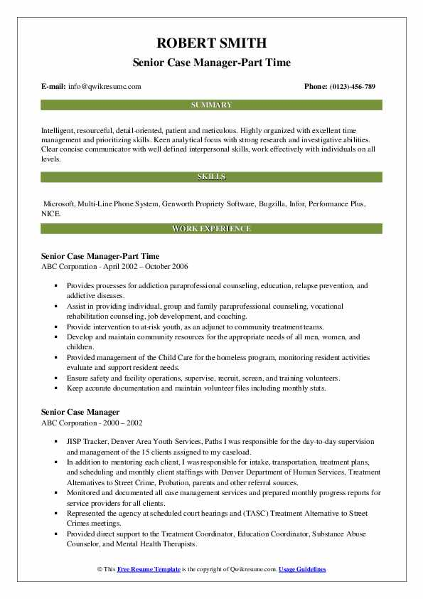 Senior Case Manager-Part Time Resume Sample