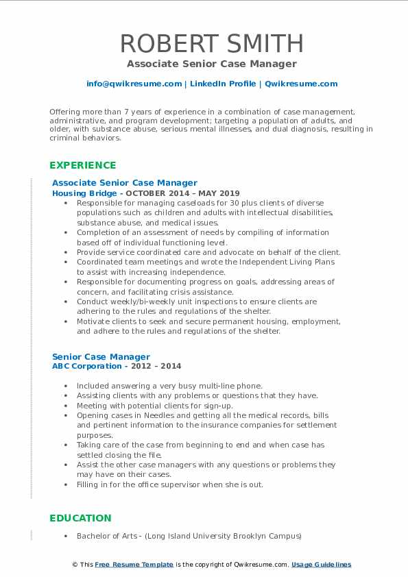 Associate Senior Case Manager Resume Template