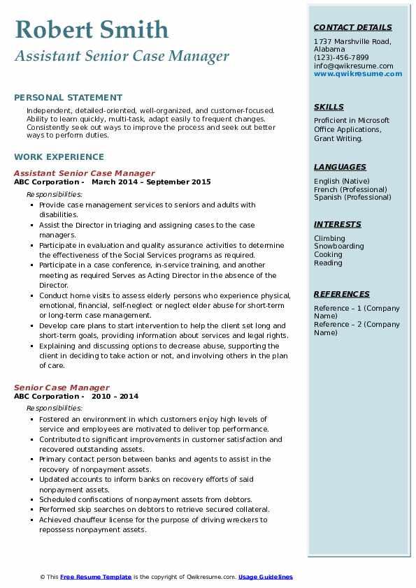 Assistant Senior Case Manager Resume Model