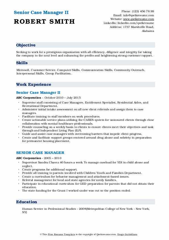 Senior Case Manager II Resume Model