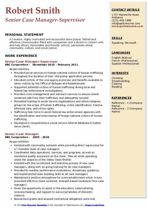Senior Case Manager-Supervisor Resume Template