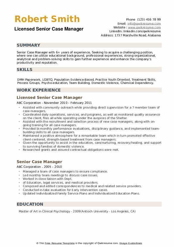 Licensed Senior Case Manager Resume Format