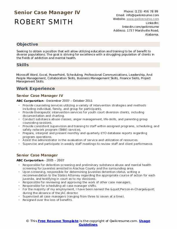 Senior Case Manager IV Resume Model