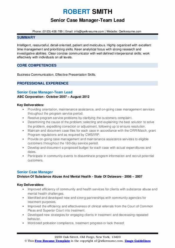 Senior Case Manager-Team Lead Resume Template