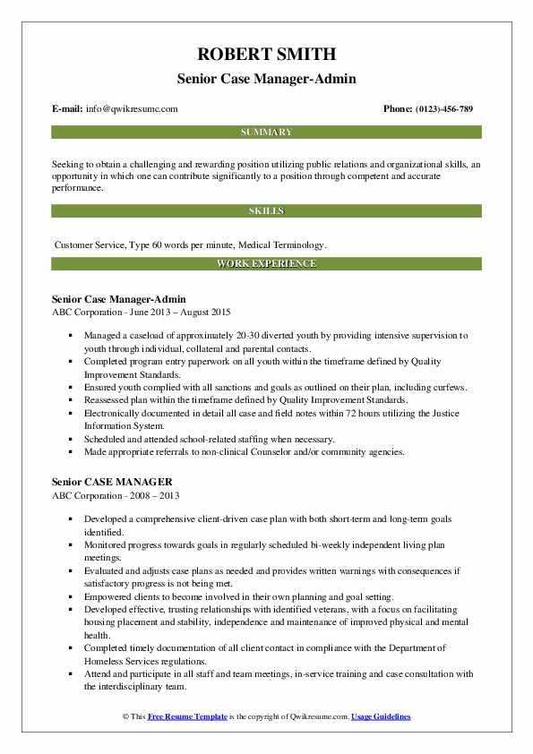 Senior Case Manager-Admin Resume Template