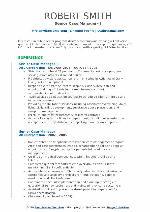 Senior Case Manager-II Resume Sample