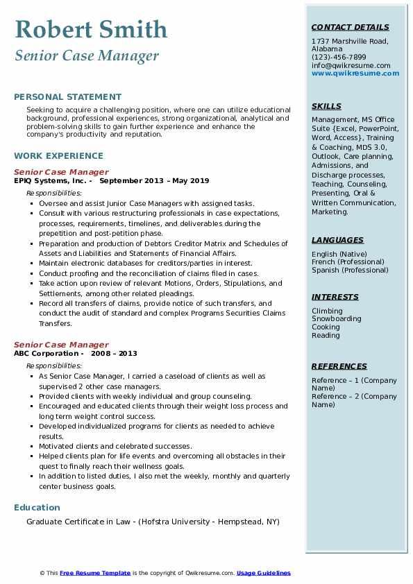 Senior Case Manager Resume example