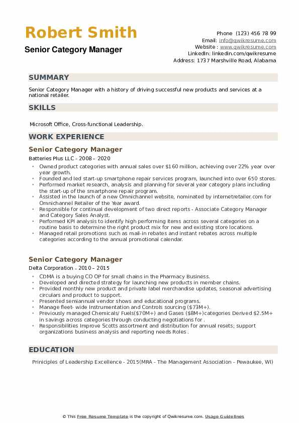 Senior Category Manager Resume example