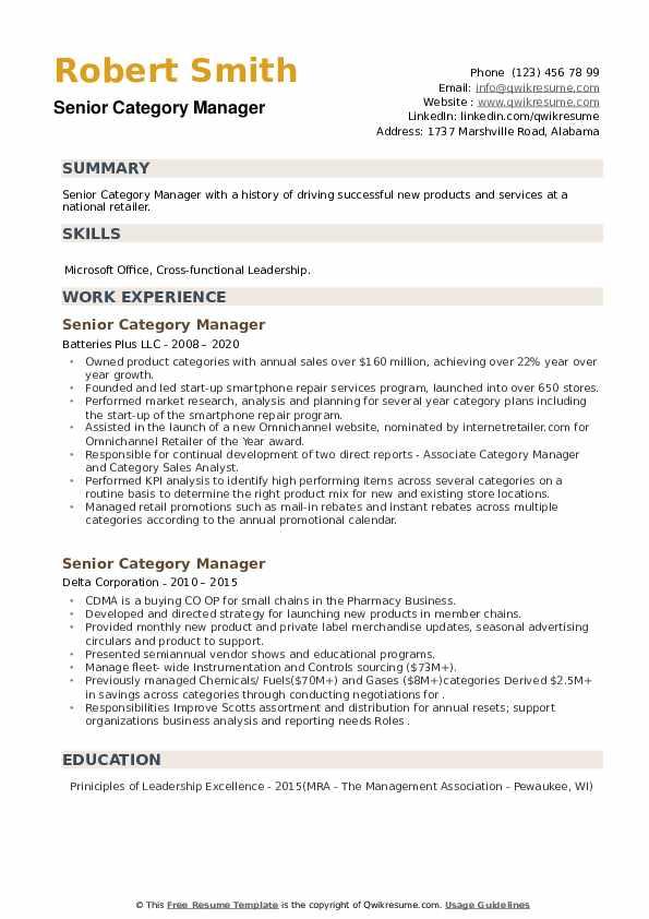 senior category manager resume samples