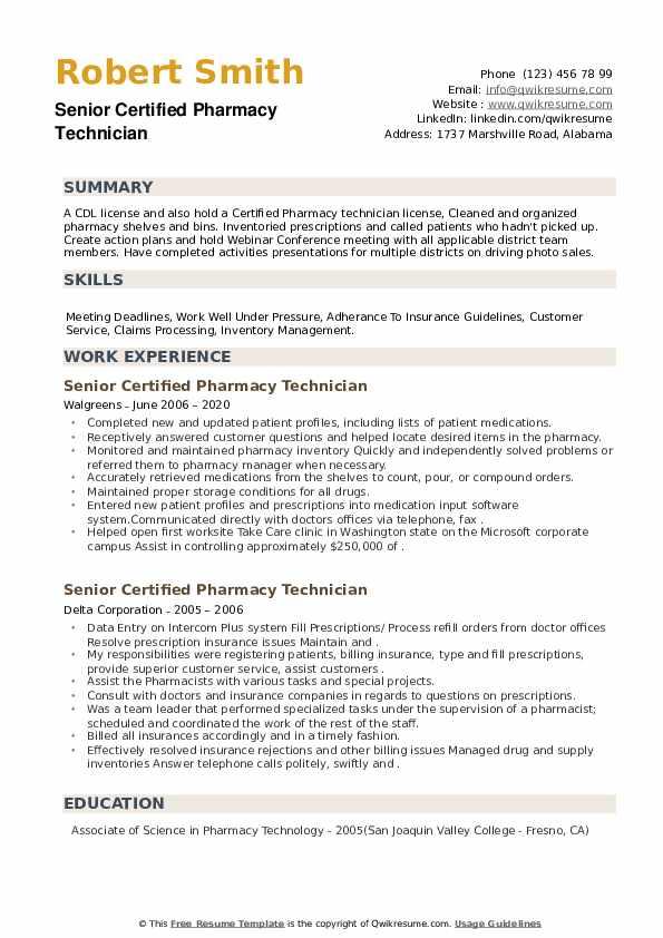 Senior Certified Pharmacy Technician Resume example