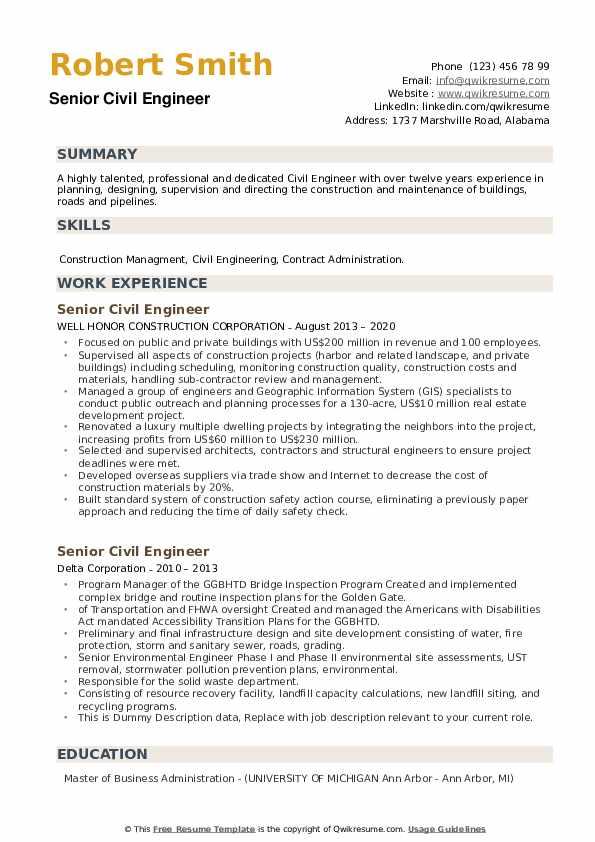 Senior Civil Engineer Resume example
