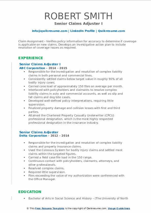 Senior Claims Adjuster Resume Samples | QwikResume
