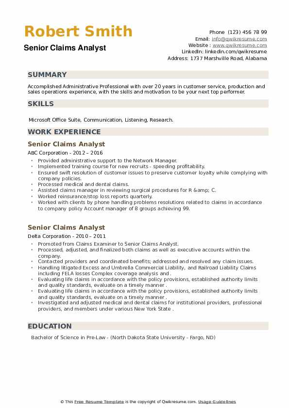 Senior Claims Analyst Resume example