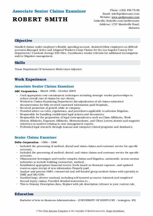 senior claims examiner resume samples  qwikresume