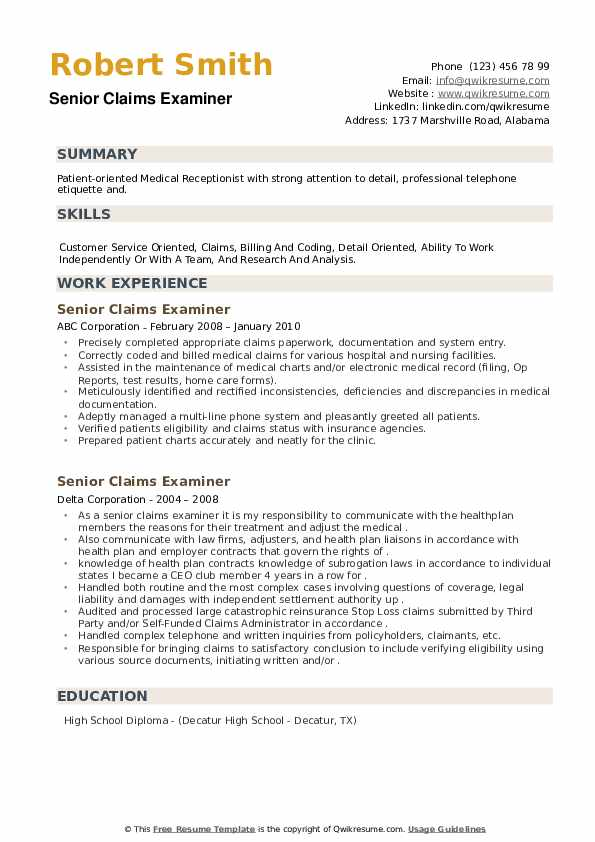 Senior Claims Examiner Resume example