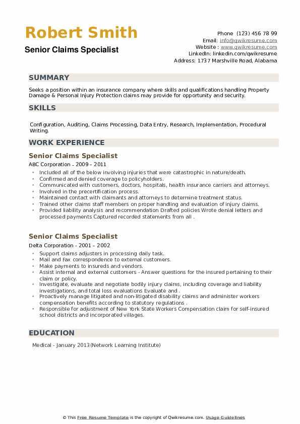 Senior Claims Specialist Resume example