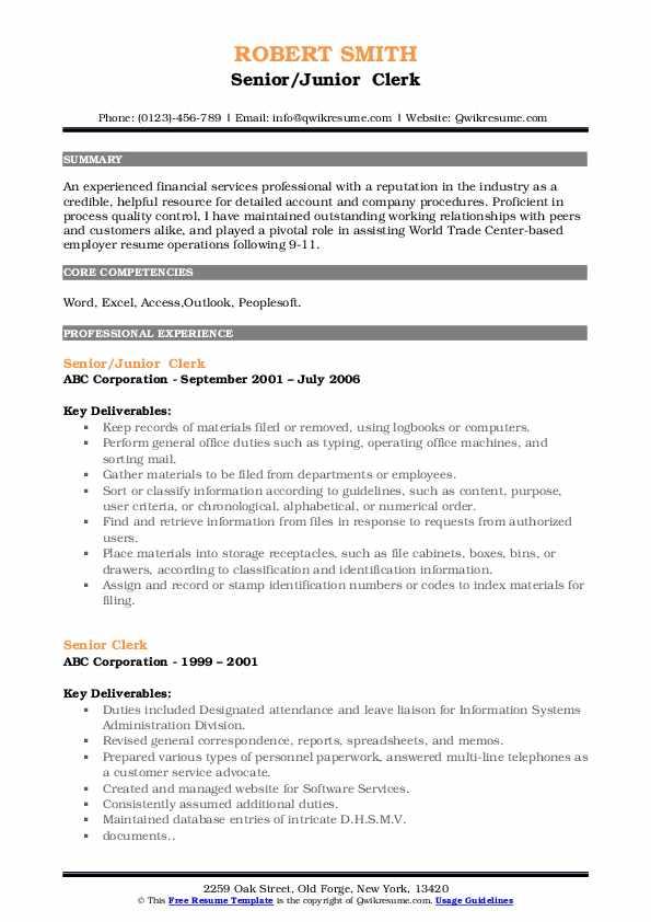 Senior Clerk Resume Samples   QwikResume