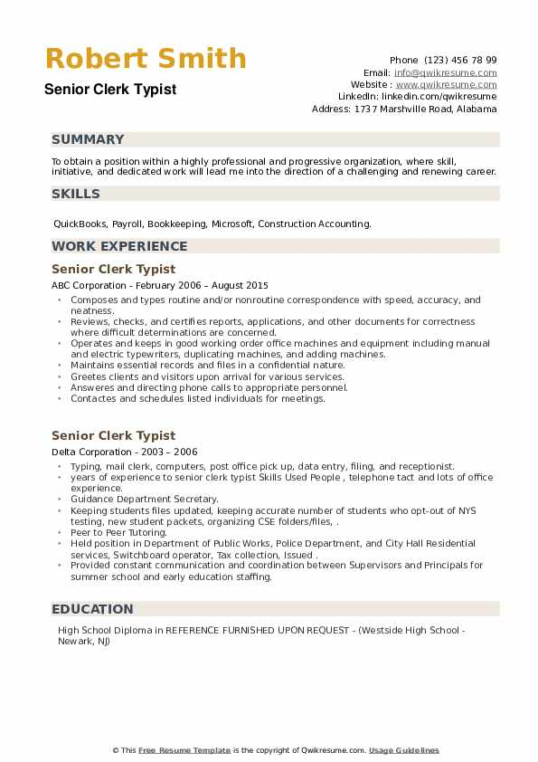 Senior Clerk Typist Resume example