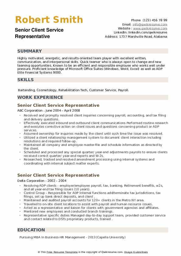 Senior Client Service Representative Resume example