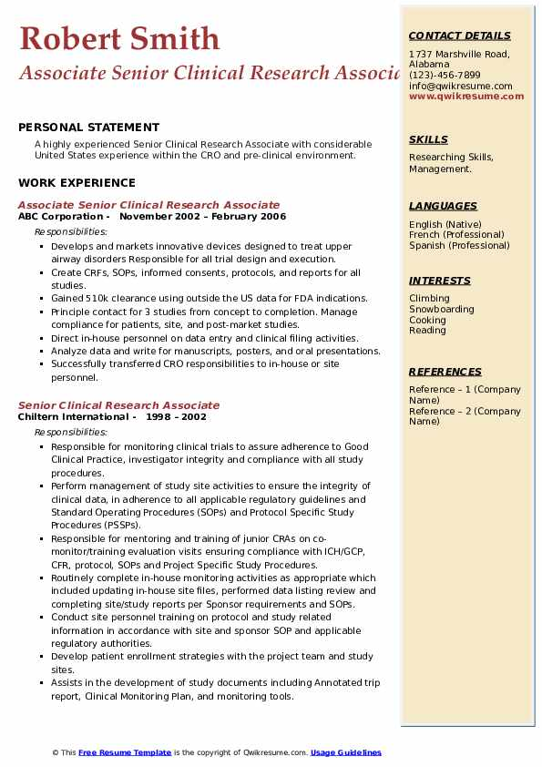 senior clinical research associate resume samples  qwikresume