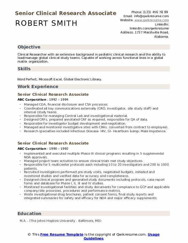 Senior Clinical Research Associate Resume example