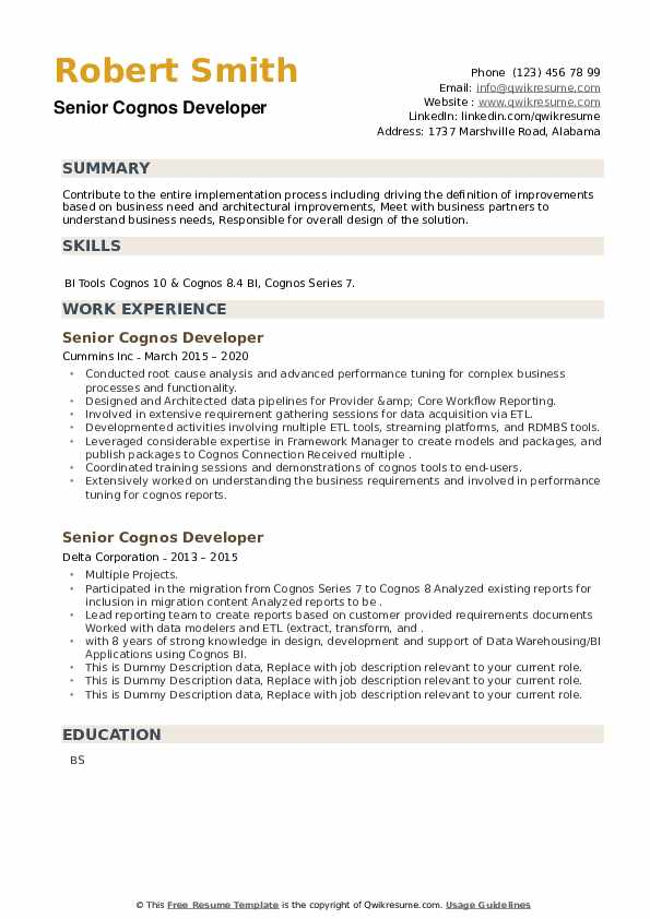 Senior Cognos Developer Resume example