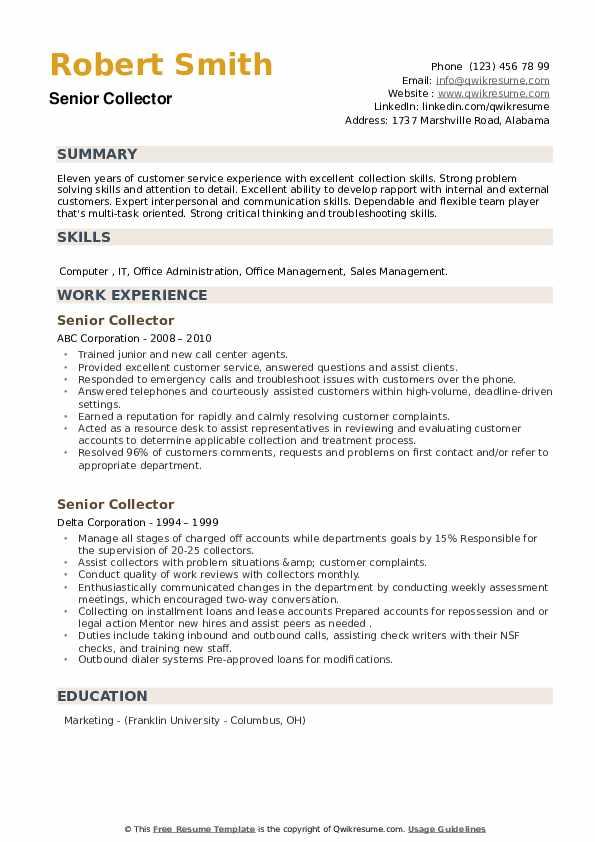 Senior Collector Resume example