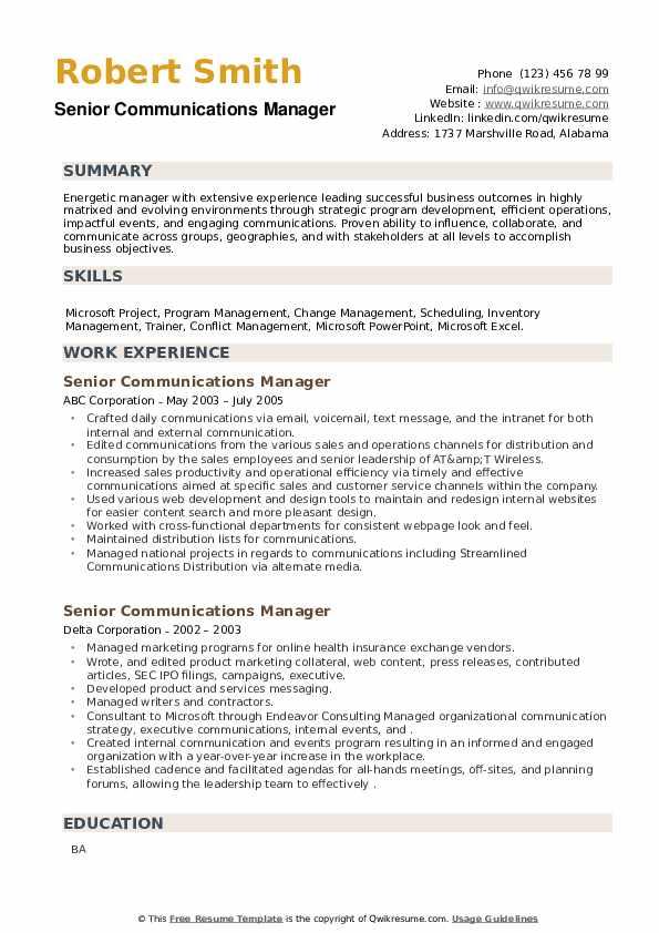 Senior Communications Manager Resume example