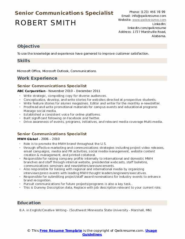 Senior Communications Specialist Resume example