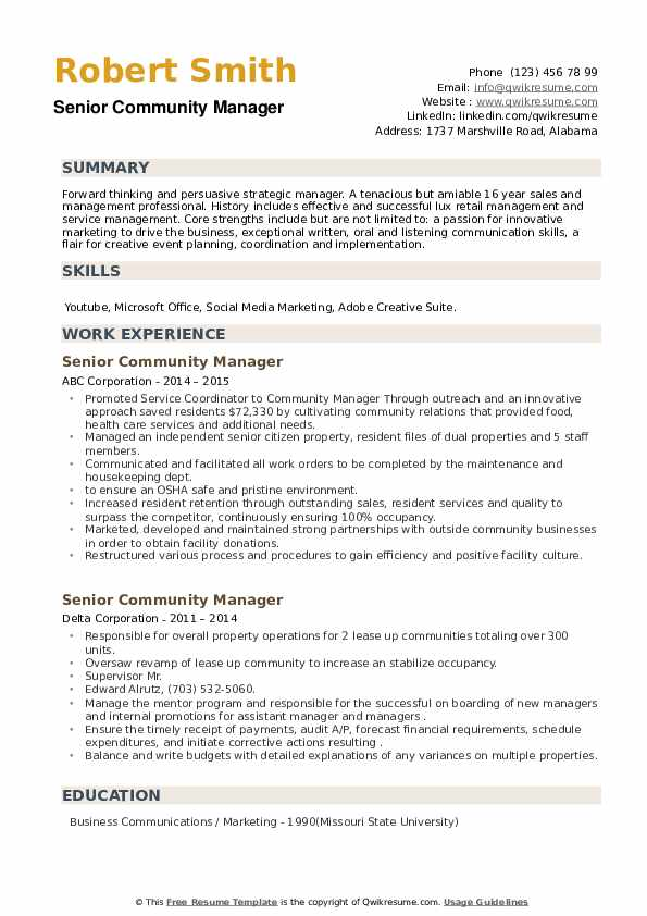 Senior Community Manager Resume example
