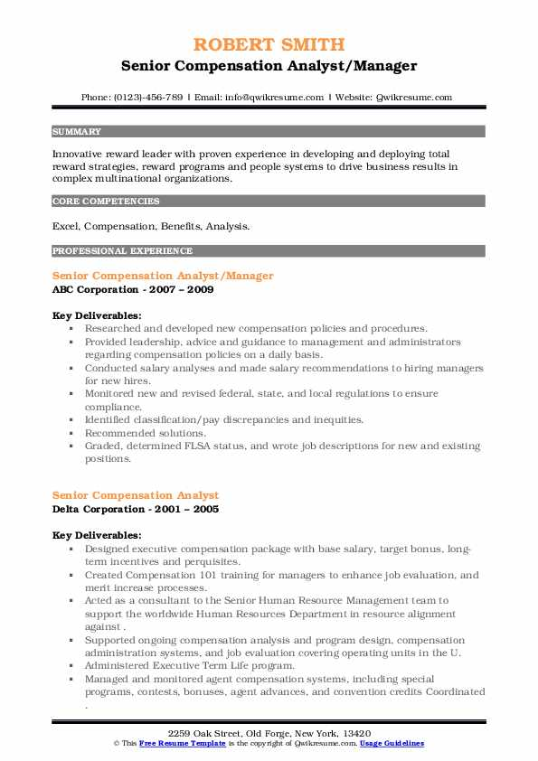 senior compensation analyst resume samples  qwikresume